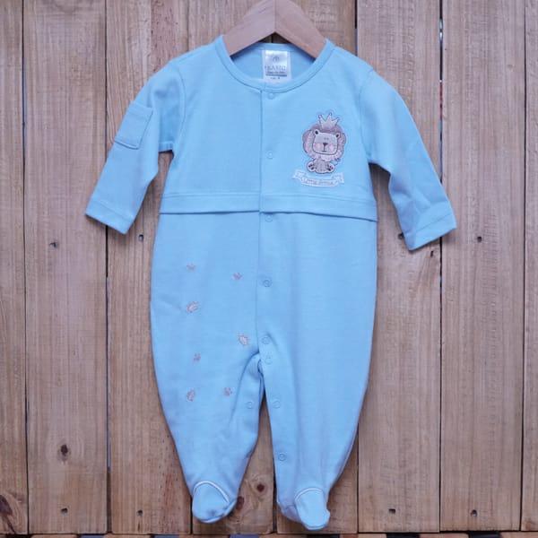 Macacão para Bebê Bordado Leão Azul Claro