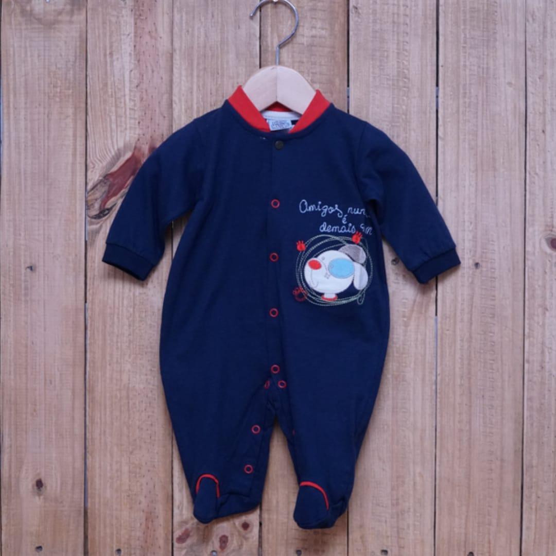 Macacão para Bebê Bordado Marinho com Detalhe Vermelho