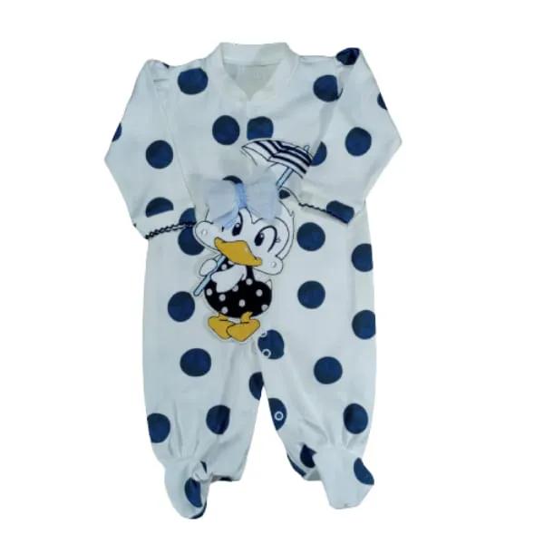 Macacão para Bebê Bordado Patinha Branco com Azul Marinho