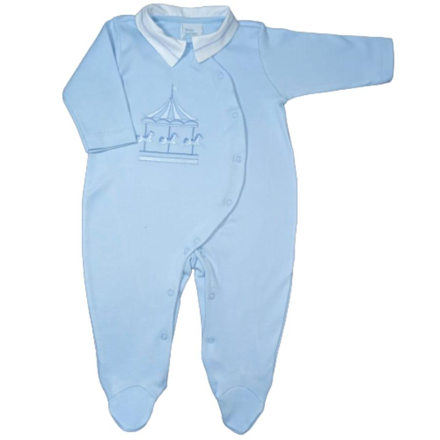 Macacão para Bebê Bordado Três Cavalinhos Azul Claro