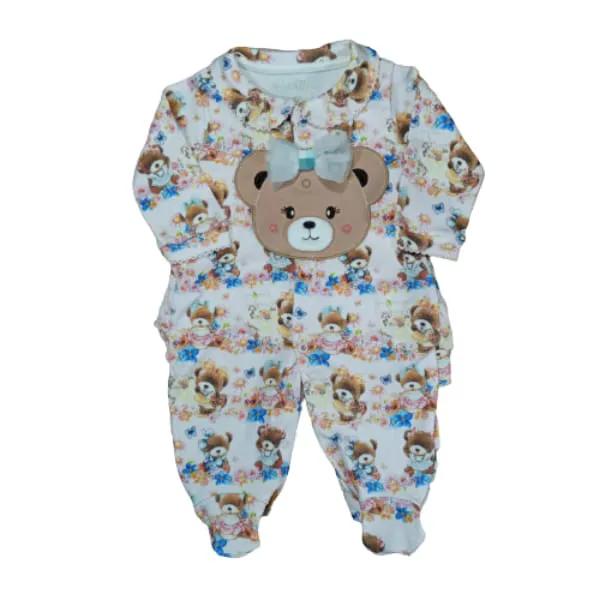 Macacão para Bebê Bordado Ursinhas