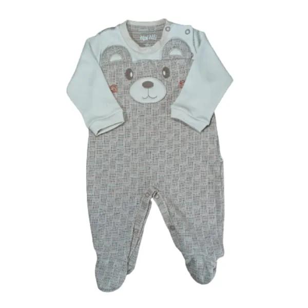 Macacão para Bebê Bordado Ursinho Bege