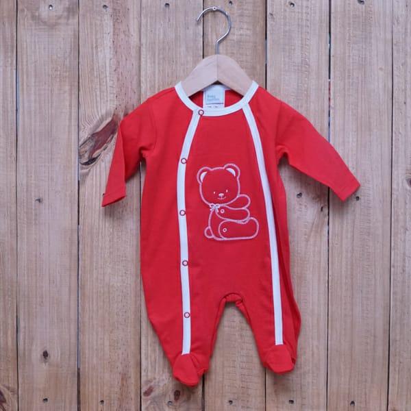 Macacão para Bebê Bordado Urso Vermelho