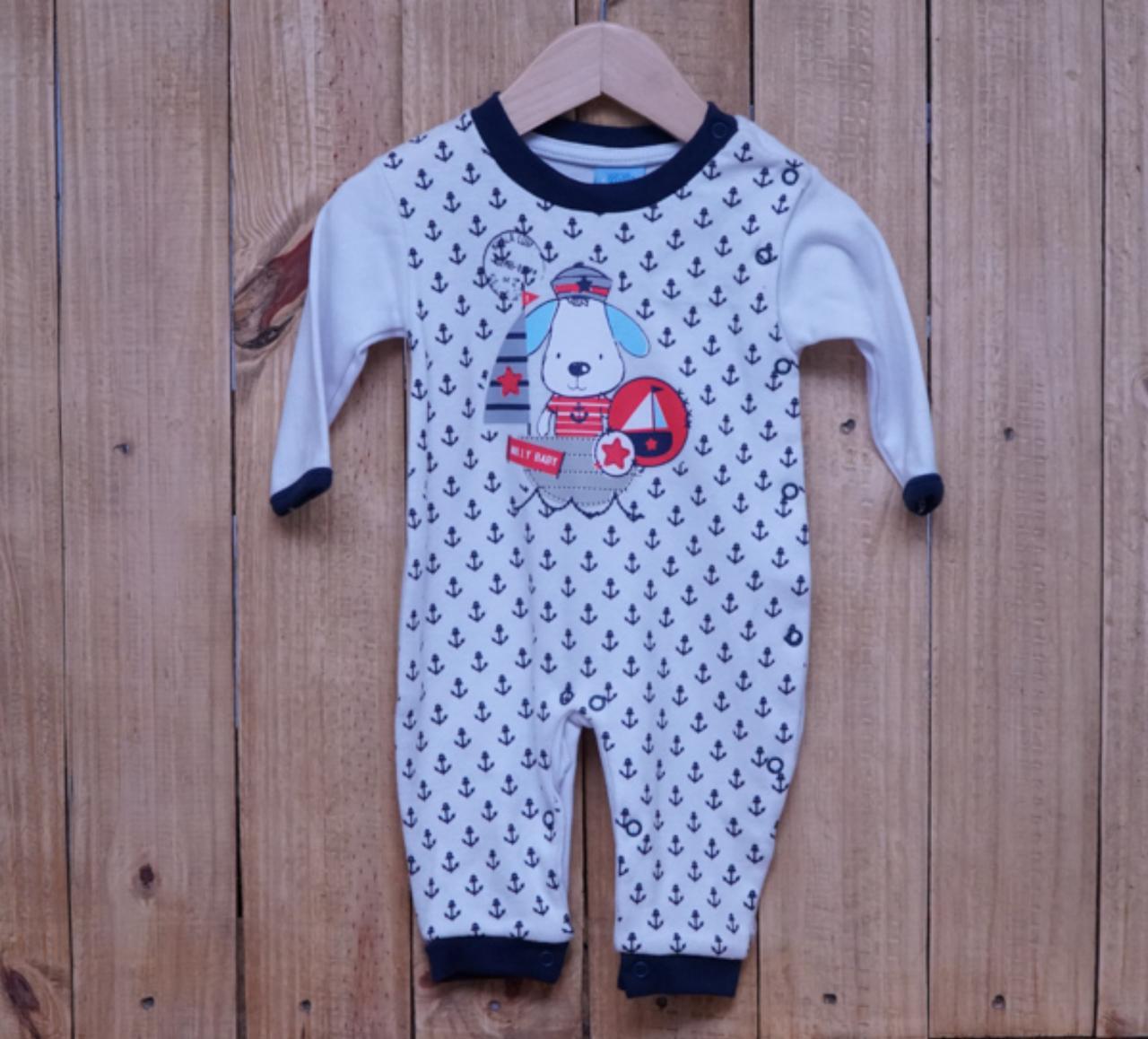 Macacão para Bebê Branco Detalhe Marinho