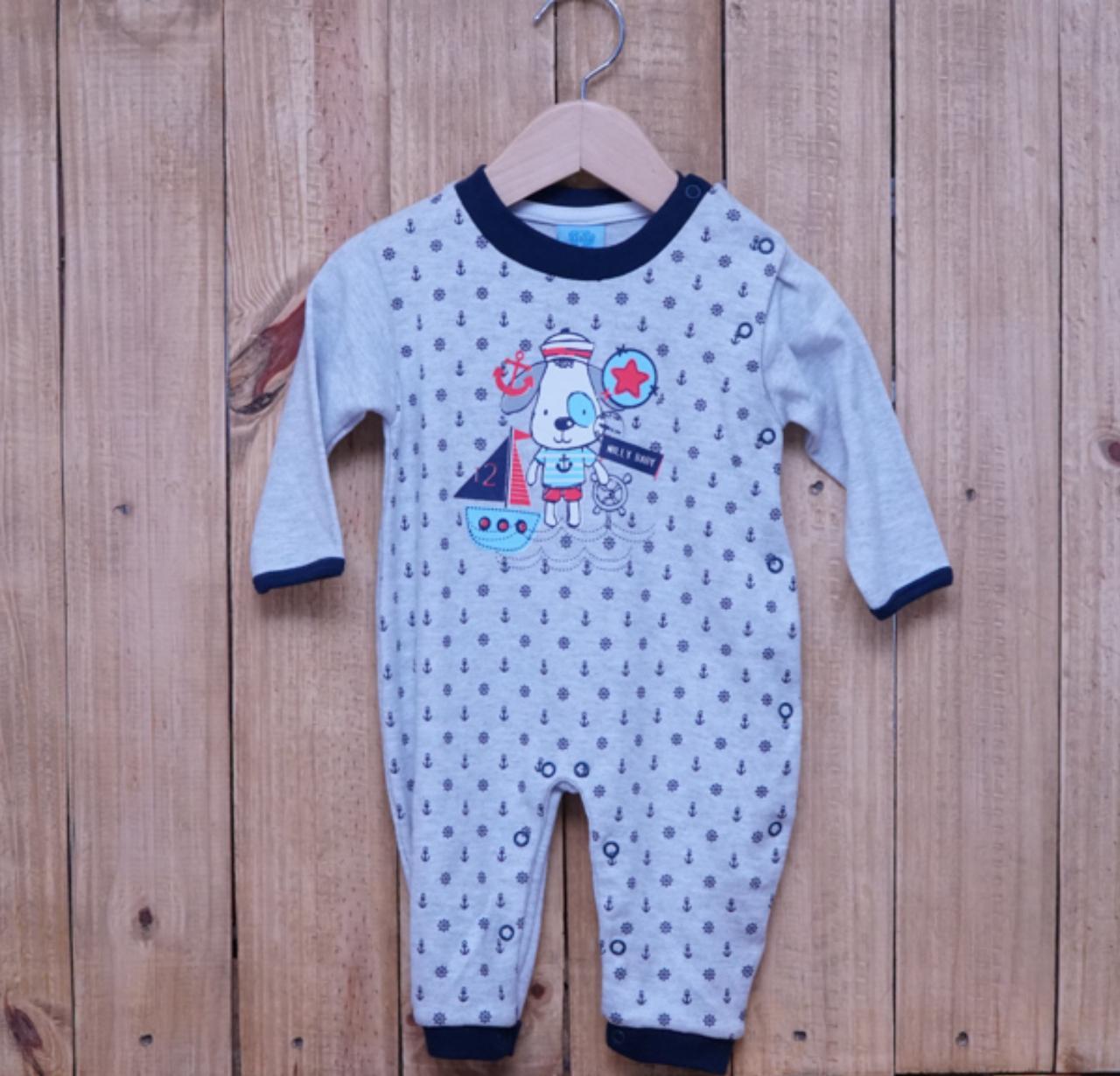 Macacão para Bebê Cinza com Detalhe Marinho