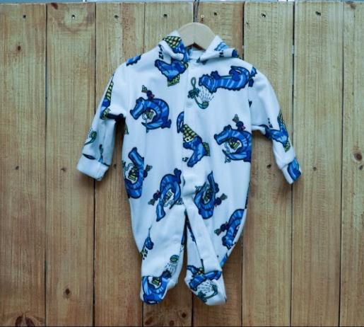 Macacão para Bebê com Capuz estampado Soft  Jacaré Azul