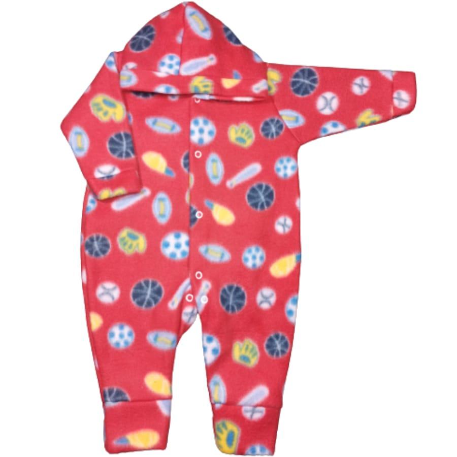 Macacão para Bebê com Capuz Soft Estampado Beisebol