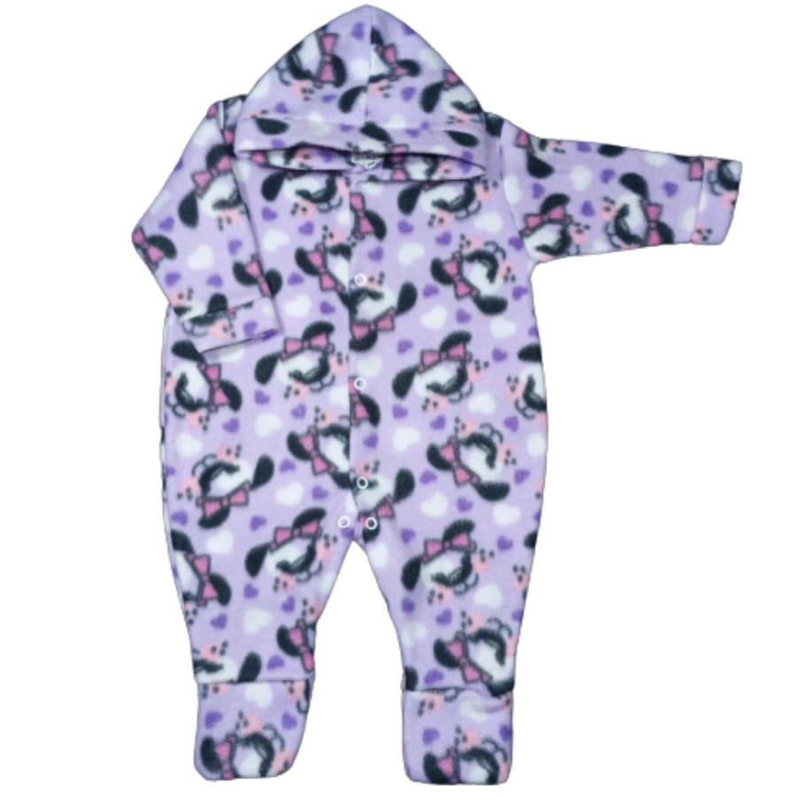 Macacão para Bebê com Capuz Soft Estampado Cachorrinha