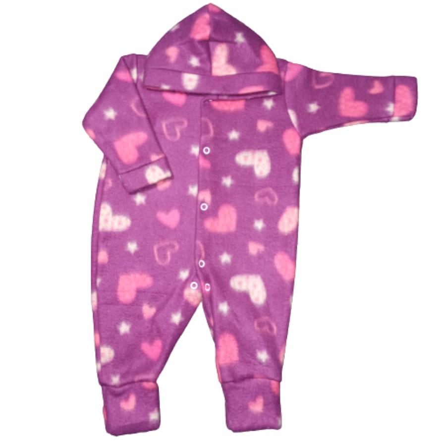 Macacão para Bebê com Capuz Soft Estampado Coração