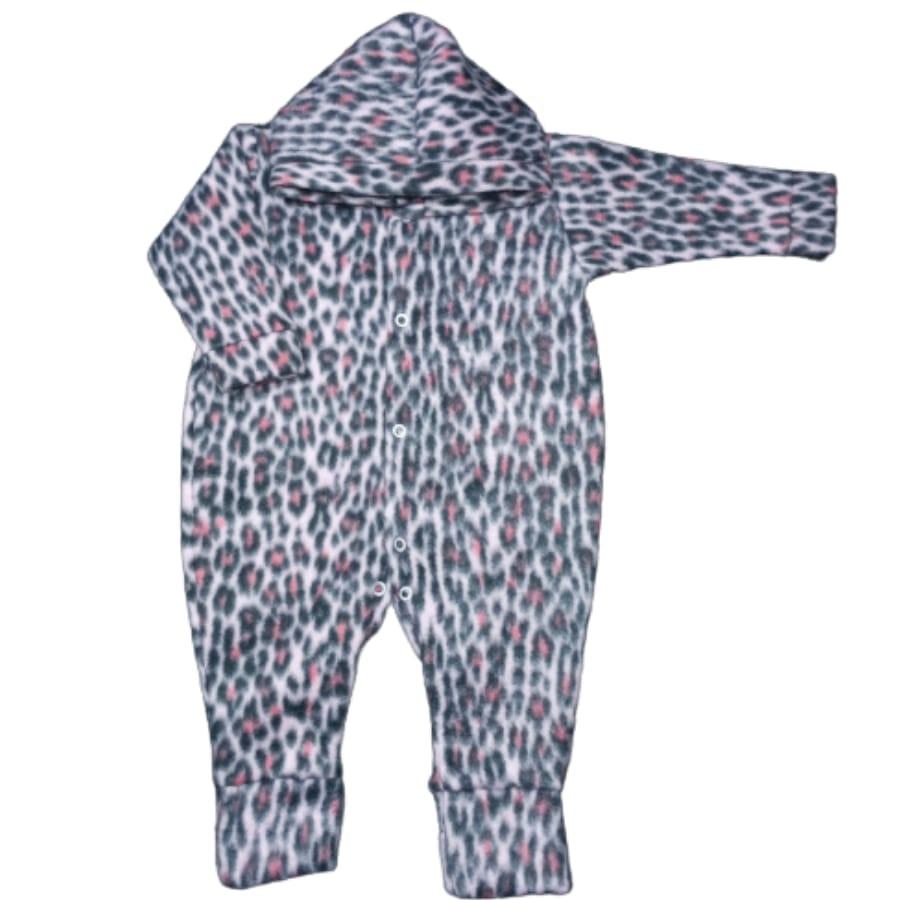 Macacão para Bebê com Capuz Soft Estampado Oncinha