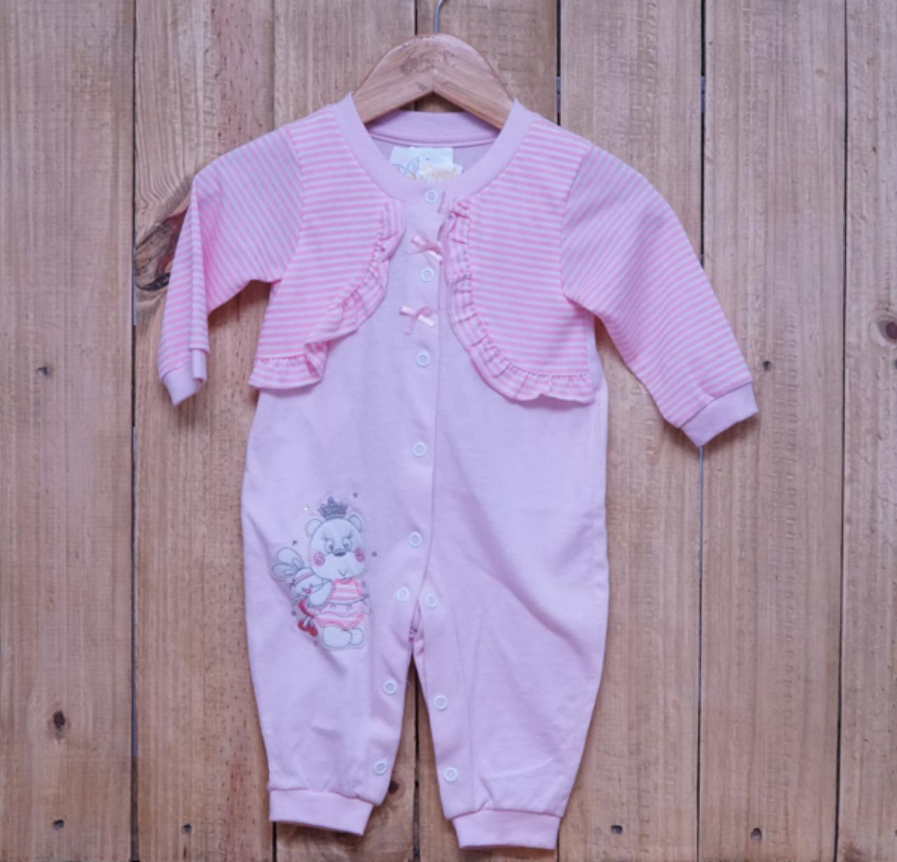 Macacão para Bebê com Detalhe de Strass e Bordado Rosa