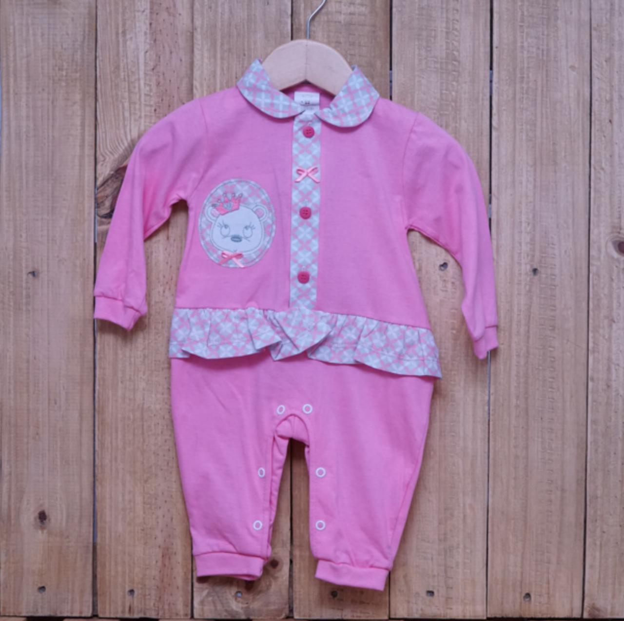 Macacão para Bebê com Detalhe em  Strass e Bordado Rosa Escuro
