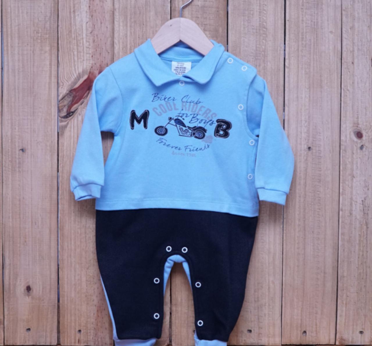 Macacão para Bebê com Gola Polo Bordado Azul