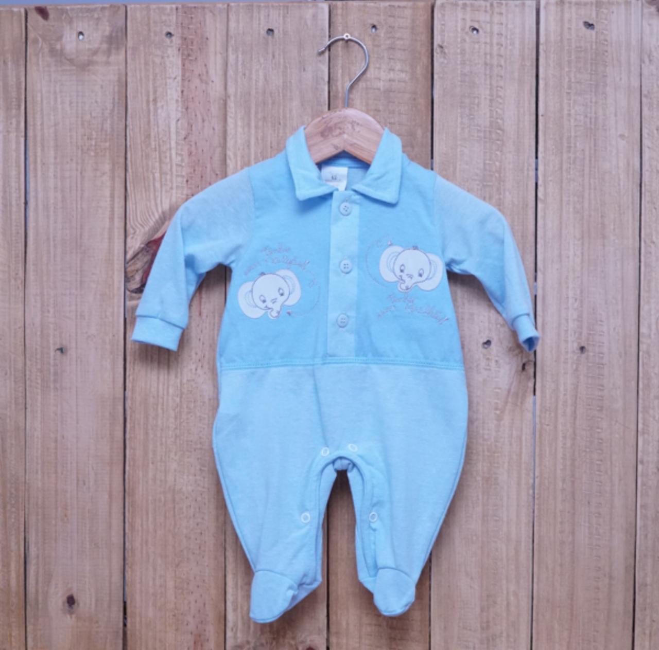 Macacão para Bebê Gola Polo Bordado Azul Claro
