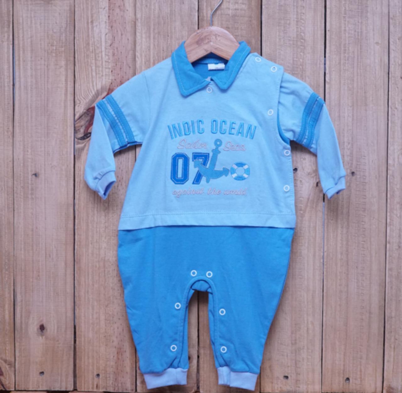 Macacão para Bebê com Gola Polo Bordado Indic Ocean Azul
