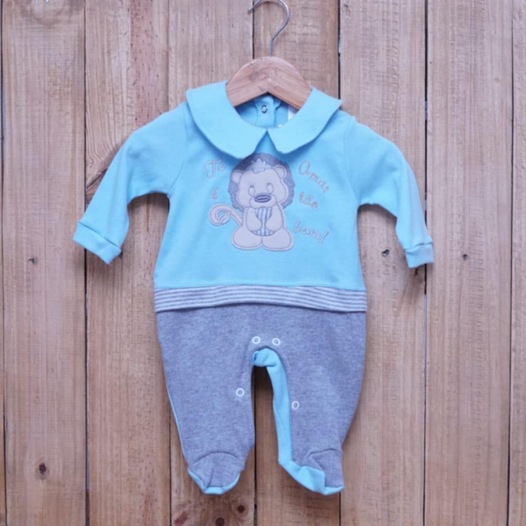 Macacão para Bebê com Gola Polo Bordado Azul com Cinza