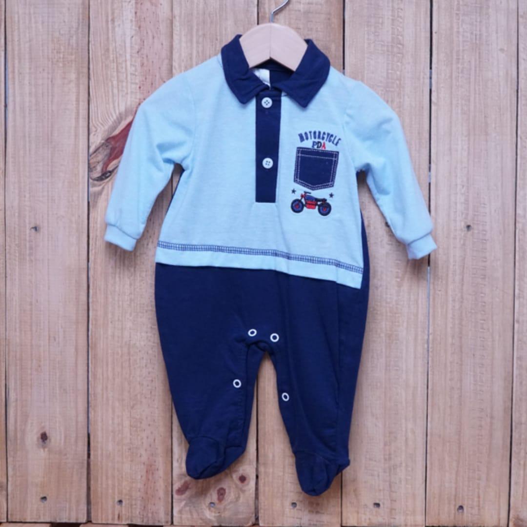 Macacão para Bebê com Gola Polo Bordado Azul com Marinho