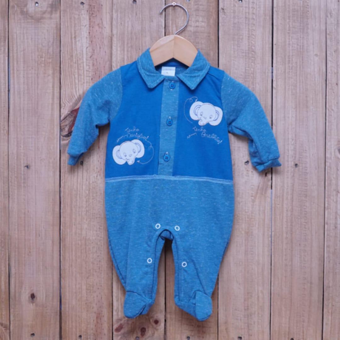 Macacão para Bebê com Gola Polo Bordado Azul Jeans