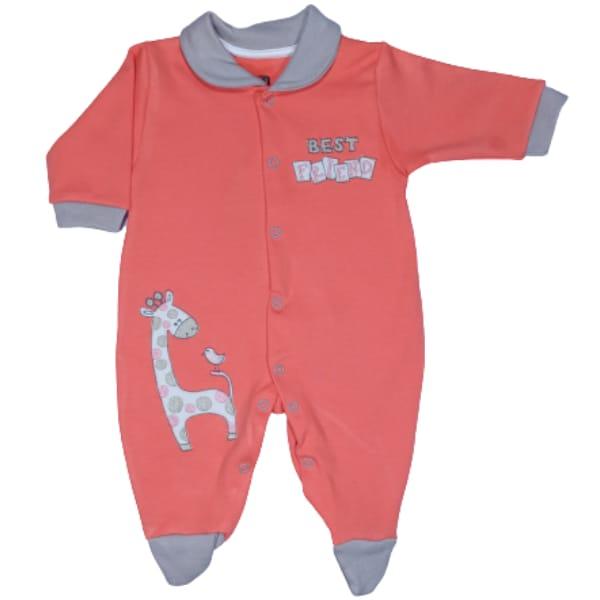 Macacão para Bebê com Gola Polo Bordado Best Friend Laranja com Bege
