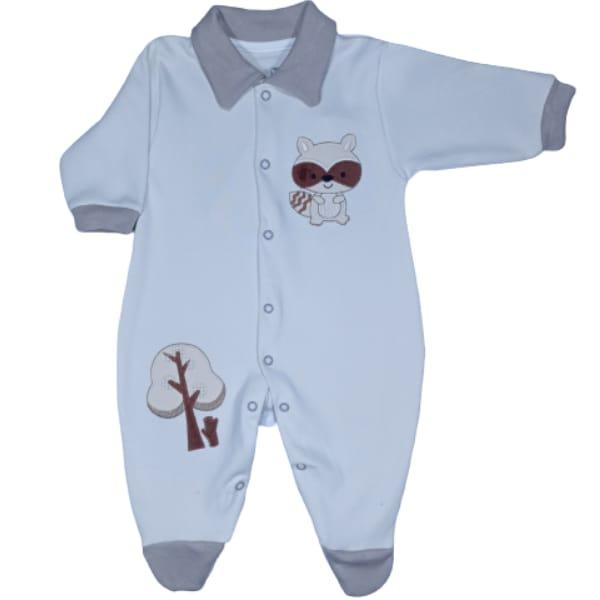 Macacão para Bebê com Gola Polo Bordado Castor Off White com Bege