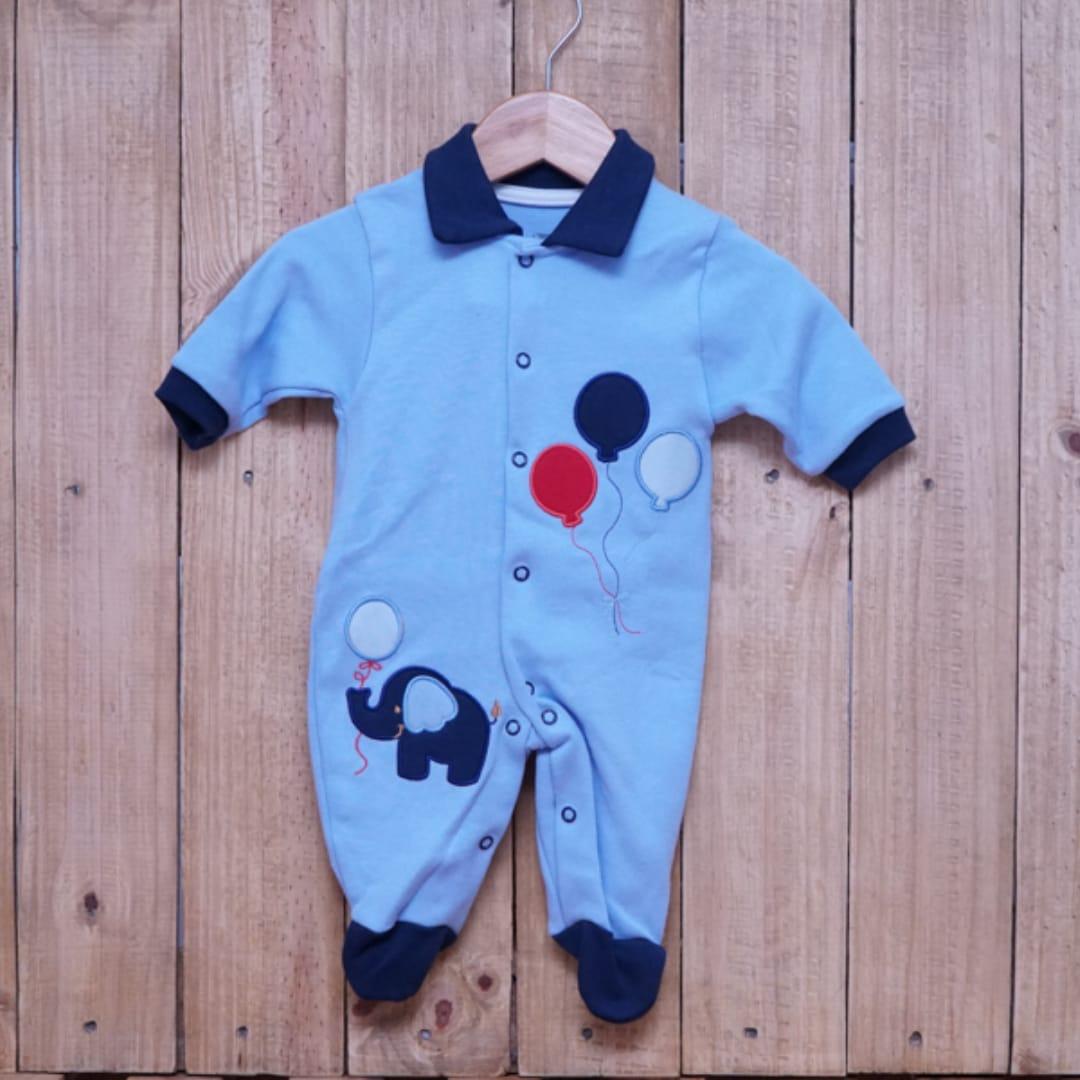 Macacão para Bebê com Gola Polo Bordado Elefante Azul