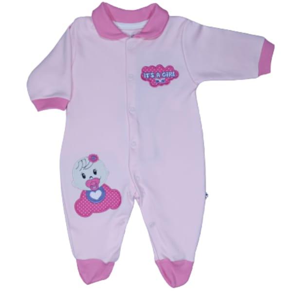 Macacão para Bebê com Gola Polo Bordado Its a Girl Rosa Claro com Rosa Escuro