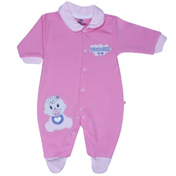 Macacão para Bebê com Gola Polo Bordado Its a Girl Rosa Escuro com Rosa Claro