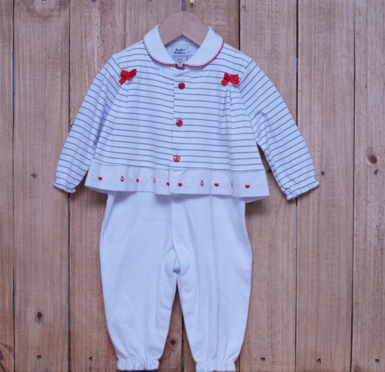 Macacão para Bebê com Gola Polo Bordado  Branco com Detalhe Vermelho