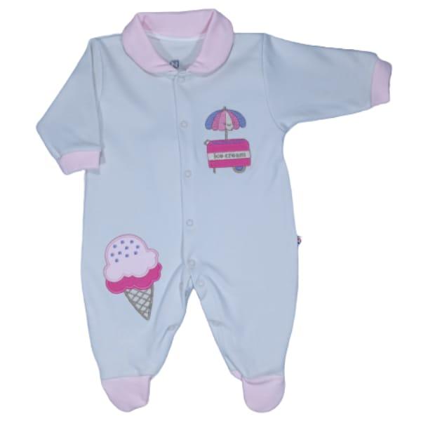 Macacão para Bebê com Gola Polo Bordado Sorvete Bege com Rosa
