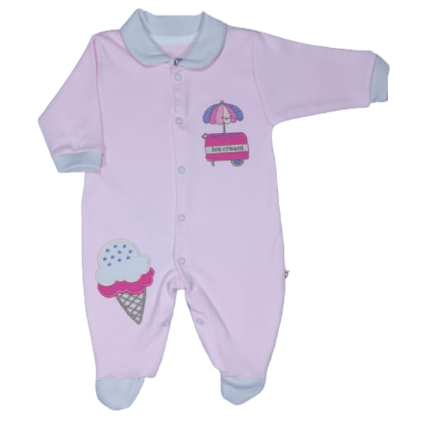 Macacão para Bebê com Gola Polo Bordado Sorvete Rosa com Off White
