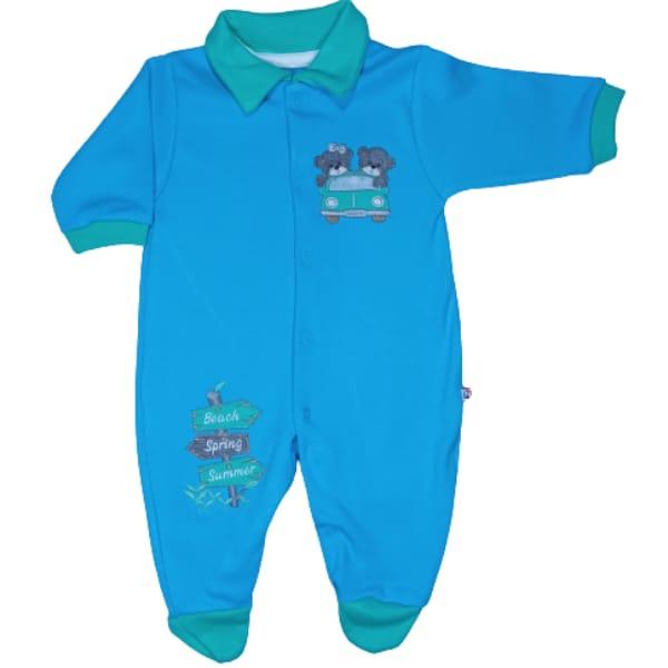 Macacão para Bebê com Gola Polo Bordado Viagem Azul com Verde