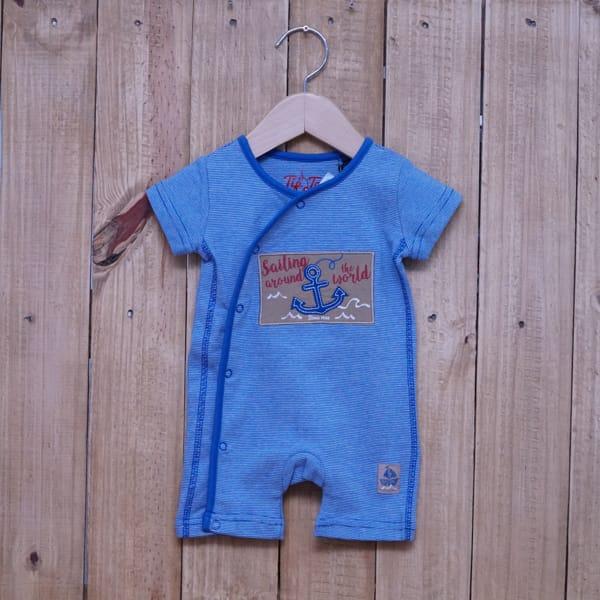 Macacão para Bebê Curto Bordado Âncora Azul Escuro