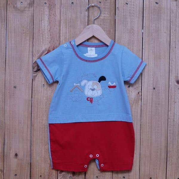 Macacão para Bebê Curto Bordado Amiguinho Azul Claro com Vermelho