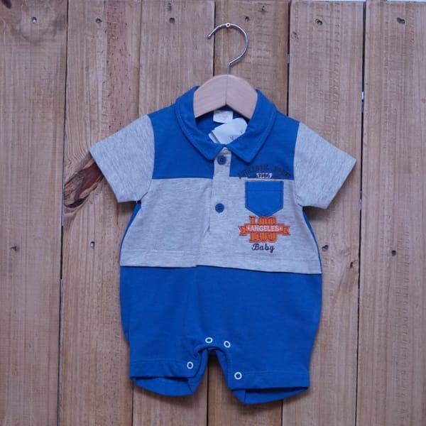 Macacão para Bebê Curto Bordado Authentic Sport Cinza com Azul Escuro