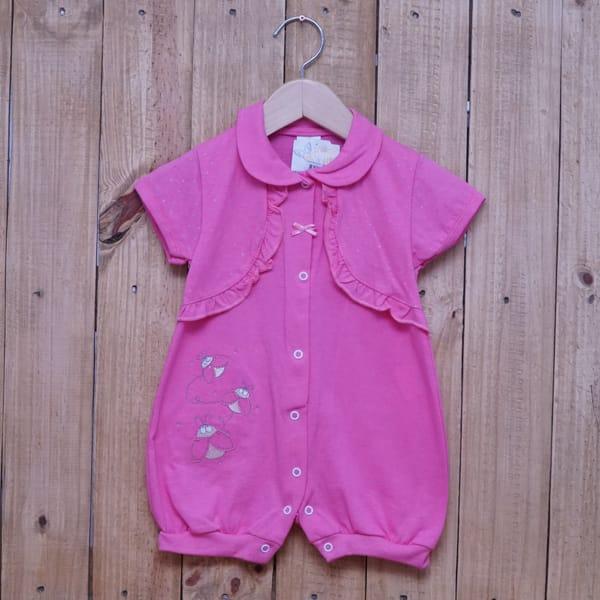 Macacão para Bebê Curto Bordado Com Bolero Embutido Rosa Escuro