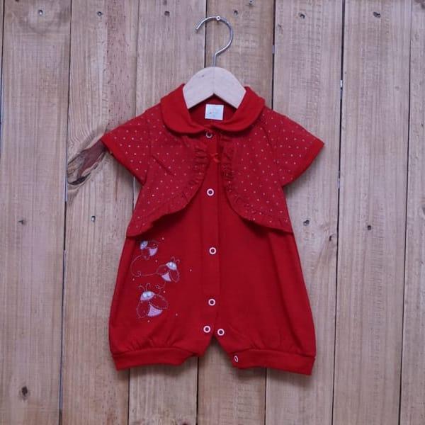 Macacão para Bebê Curto Bordado com Bolero Embutido Vermelho