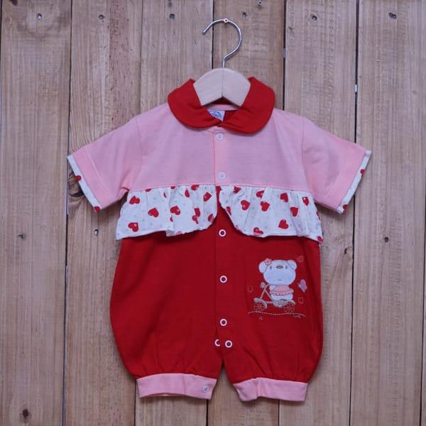 Macacão para Bebê Curto Bordado e Estampado Salmão com Vermelho