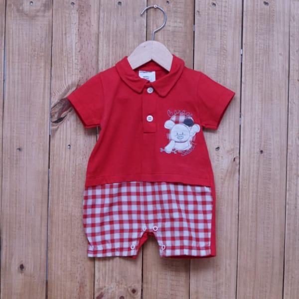 Macacão para Bebê Curto Bordado Garage Vermelho
