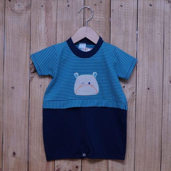Macacão para Bebê Curto Bordado Hipopótamo Listrado Tiffany e Azul Marinho