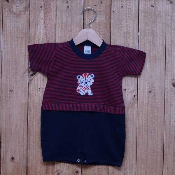 Macacão para Bebê Curto Bordado Gatinho Listrado Vermelho com Azul Marinho
