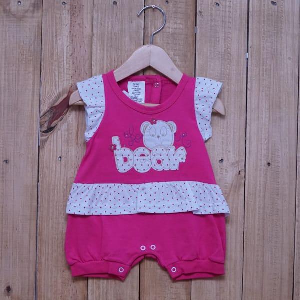 Macacão para Bebê Curto Bordado Love Bear Pink com Branco