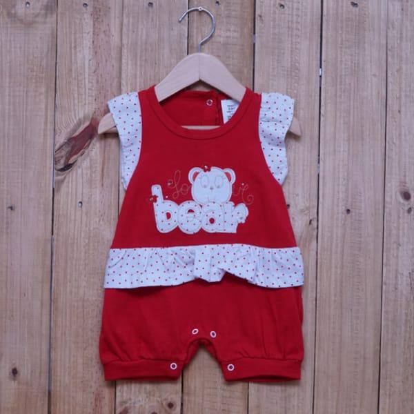 Macacão para Bebê Curto Bordado Love Bear Vermelho com Branco