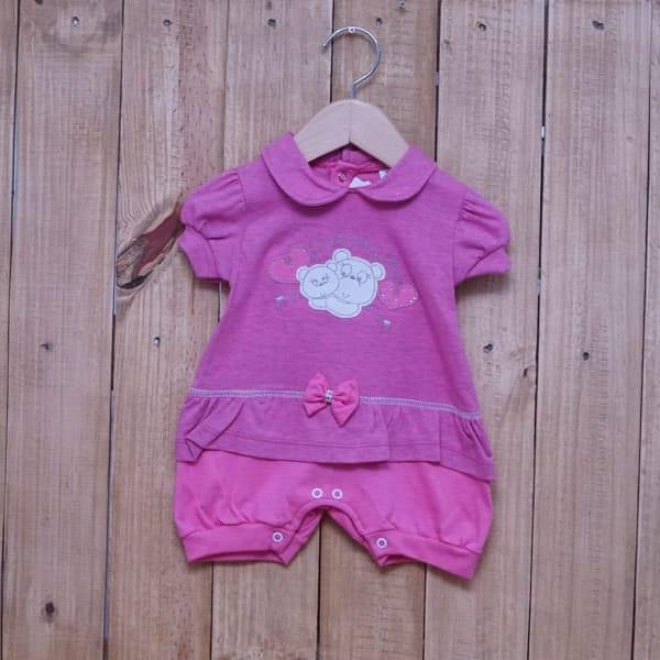 Macacão para Bebê Curto Bordado Mamãe Ursa Rosa Escuro