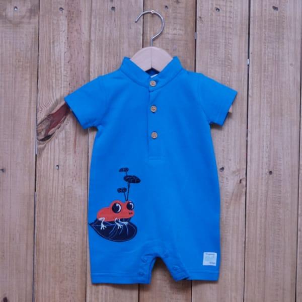 Macacão para Bebê Curto Bordado Sapinho Azul Royal