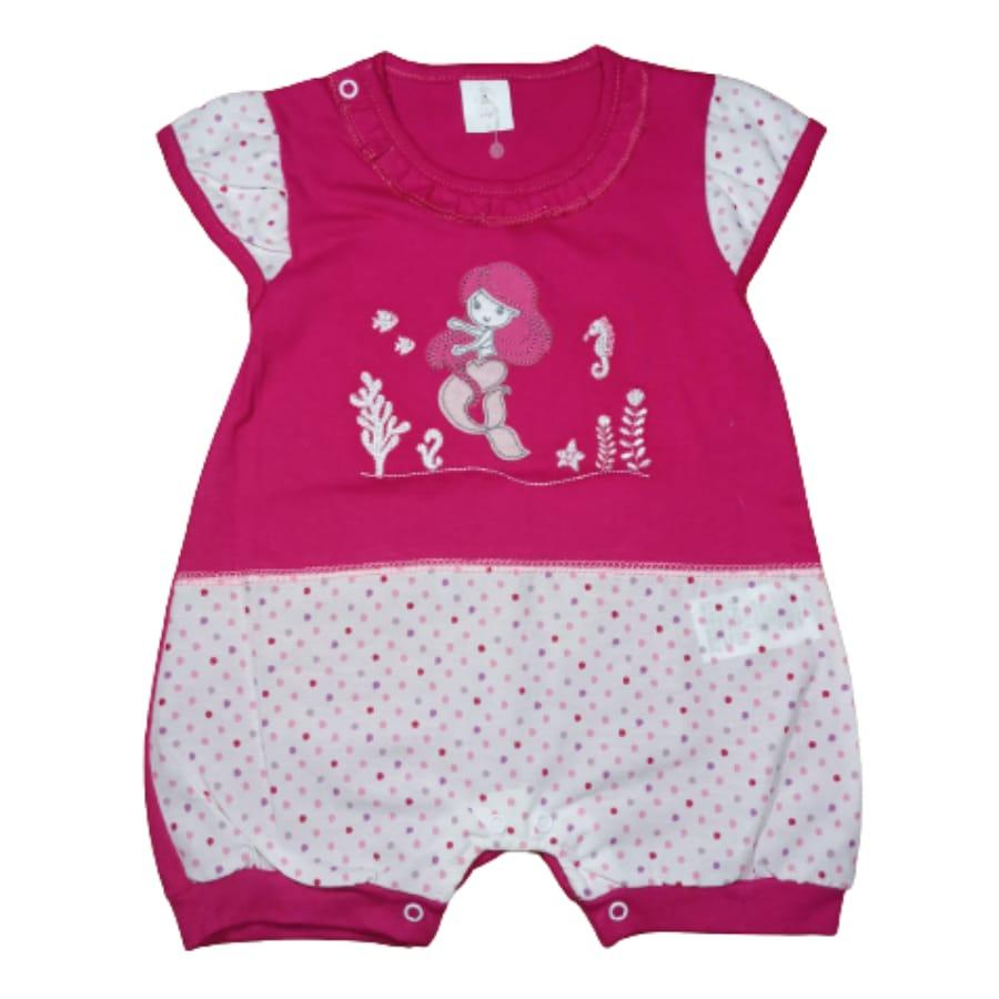 Macacão para Bebê Curto Bordado Sereia Pink
