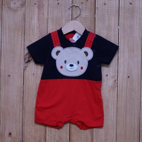 Macacão para Bebê Curto Bordado Urso Azul Marinho com Vermelho