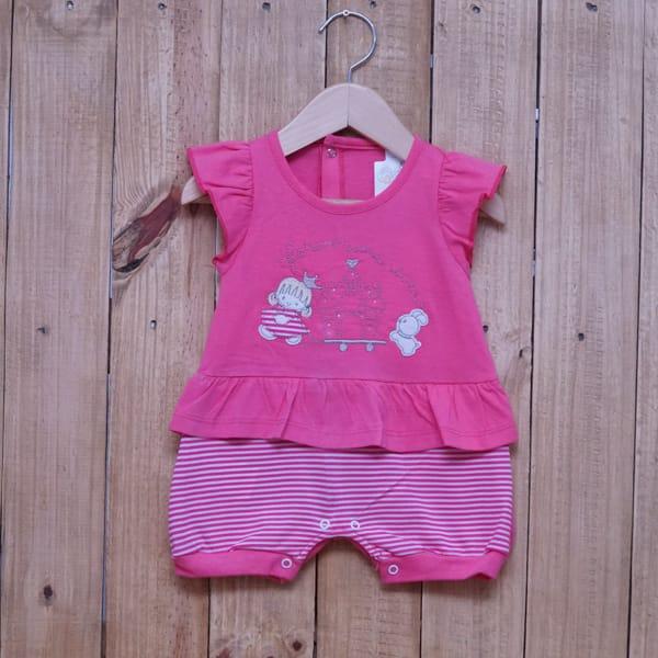 Macacão Para Bebê Curto Castelo Rosa Escuro