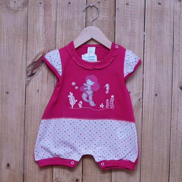 Macacão para Bebê Curto com Bolinhas Bordado Sereia Pink