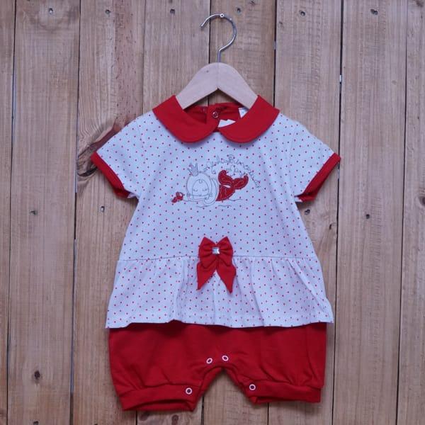 Macacão para Bebê Curto Bordado Sereia Vermelho