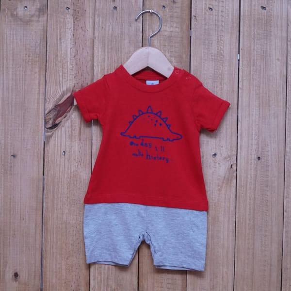 Macacão para Bebê Curto Estampado Dino Vermelho com Cinza